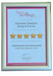 2013 Easy Weddings Certificate of Excellence